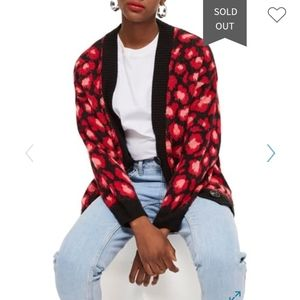 Topshop Red Leopard Print Chunky Knit Cardigan - 8